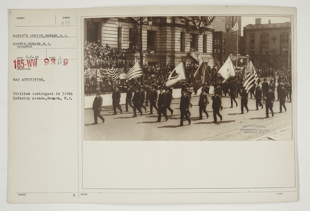 Ceremonies - Salutes and Parades - New Jersey - War activities.  Civilian contingent in 312th Infantry parade, Newark, New Jersey