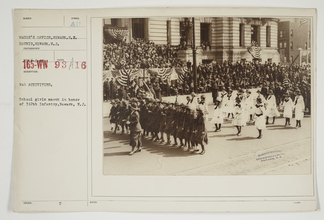Ceremonies - Salutes and Parades - New Jersey - War activities.  School girls march in honor of 312th Infantry, Newark, New Jersey