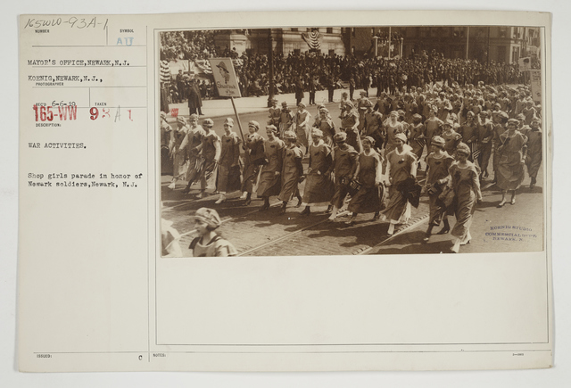 Ceremonies - Salutes and Parades - New Jersey - War activities.  Shop girls parade in honor or Newark soldiers, Newark, New Jersey