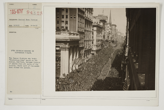 Ceremonies - Salutes and Parades - New York - 27th Division honored on Victorious Parade