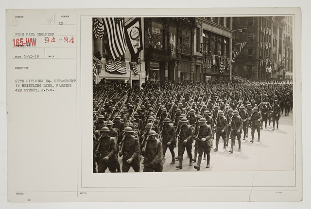 Ceremonies - Salutes and Parades - New York - 27th Division HQ detachment in bristling line, passing 42nd Street, New York City
