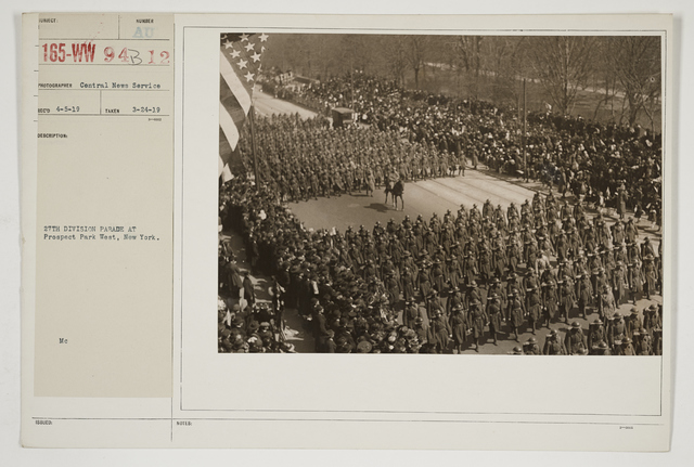 Ceremonies - Salutes and Parades - New York - 27th Division parade at Prospect Park West, New York