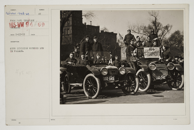Ceremonies - Salutes and Parades - New York - 27th Division wounded men in parade