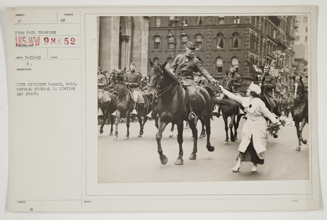 Ceremonies - Salutes and Parades - New York - 77th Division Parade, Brigadier General Michael J. Lenihan and Staff