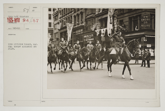Ceremonies - Salutes and Parades - New York - 77th Division parade, Major General Robert Alexander and staff