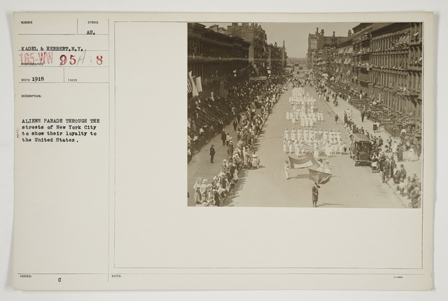 Ceremonies - Salutes and Parades - New York - Aliens parade through the streets of New York City to show their loyalty to the United States