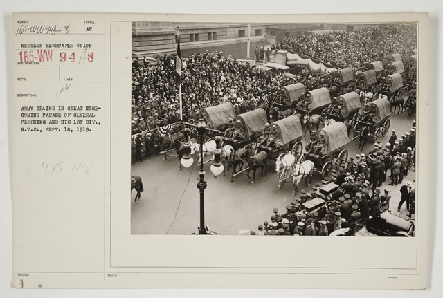 Ceremonies - Salutes and Parades - New York - Army trains in great homecoming parade of General Pershing and his 1st Division, New York City, September 10, 1919
