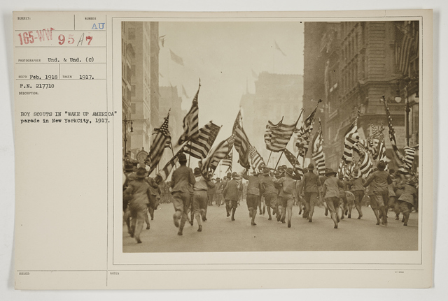 """Ceremonies - Salutes and Parades - New York - Boy Scouts in """"Wake Up America"""" parade in New York City, 1917"""