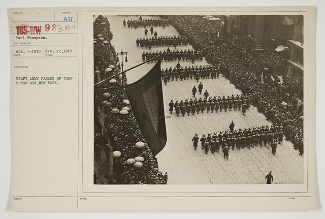Ceremonies - Salutes and Parades - New York - Draft Army parade of Camp Upton men, New York