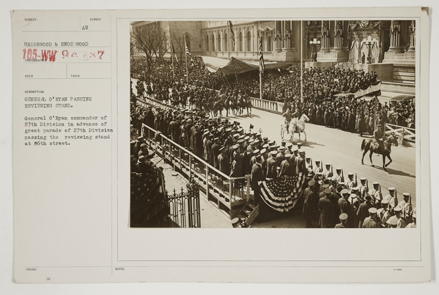 Ceremonies - Salutes and Parades - New York - General O'Ryan passing reviewing stand.  General O'Ryan Commander of 27th Division in advance of great parade of 27th Division passing the reviewing stand at 86th Street