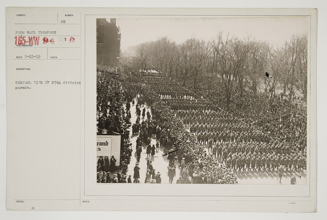Ceremonies - Salutes and Parades - New York - General view of 27th Division parade