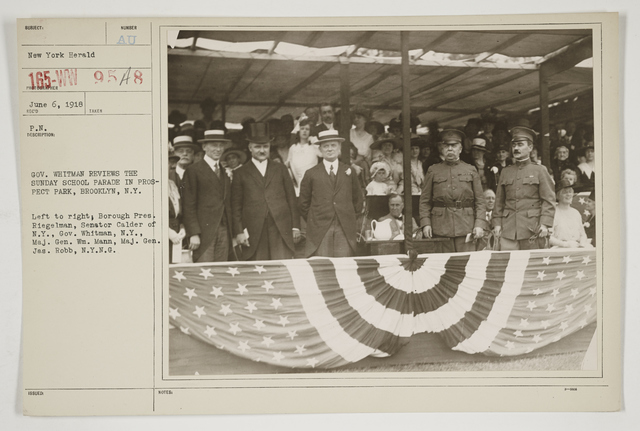 Ceremonies - Salutes and Parades - New York - Governor Whitman reviews the Sunday School Parade in Prospect Park, Brooklyn, New York