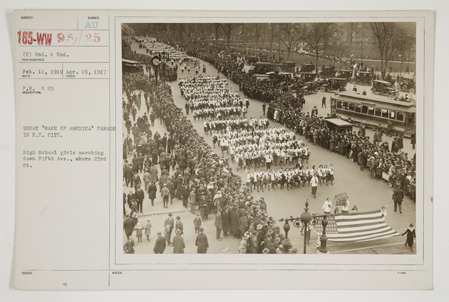 """Ceremonies - Salutes and Parades - New York - Great """"Wake Up America"""" Parade in New York City.  High school girls marching down Fifth Avenue, above 23rd Street"""