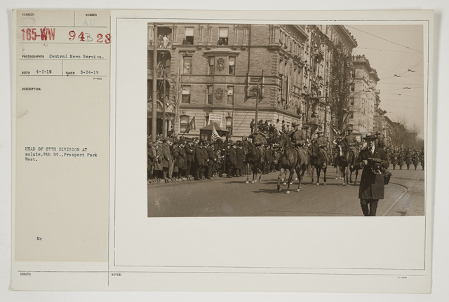 Ceremonies - Salutes and Parades - New York - Head of 27th Division at salute, 9th Street, Prospect Park WeStreet