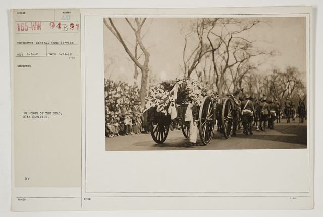 Ceremonies - Salutes and Parades - New York - In honor of the dead.  27th Division