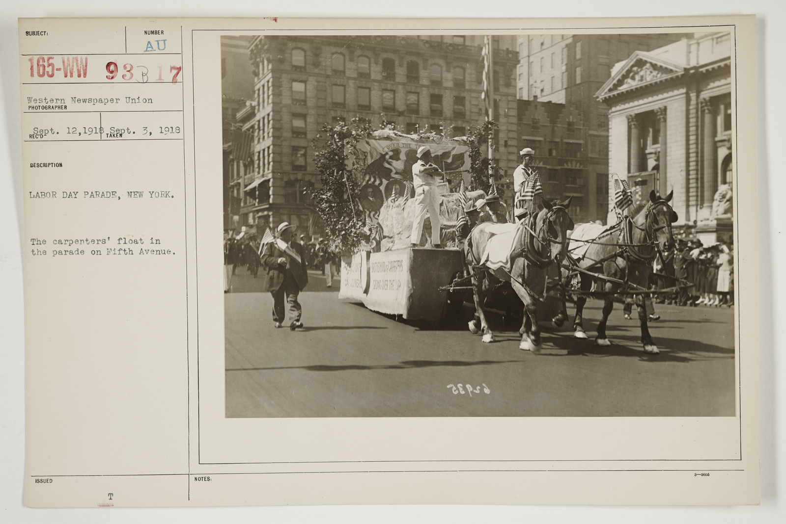 Ceremonies - Salutes and Parades - New York - Labor Day Parade, New York.  The carpenters' float in the parade on Fifth Avenue