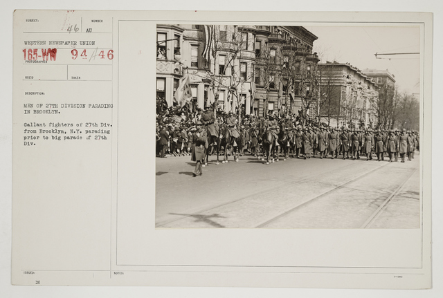 Ceremonies - Salutes and Parades - New York - Men of 27th Division parading in Brooklyn.  Gallant fighters of 27th Division from Brooklyn, New York parading prior to big parade of 27th Division