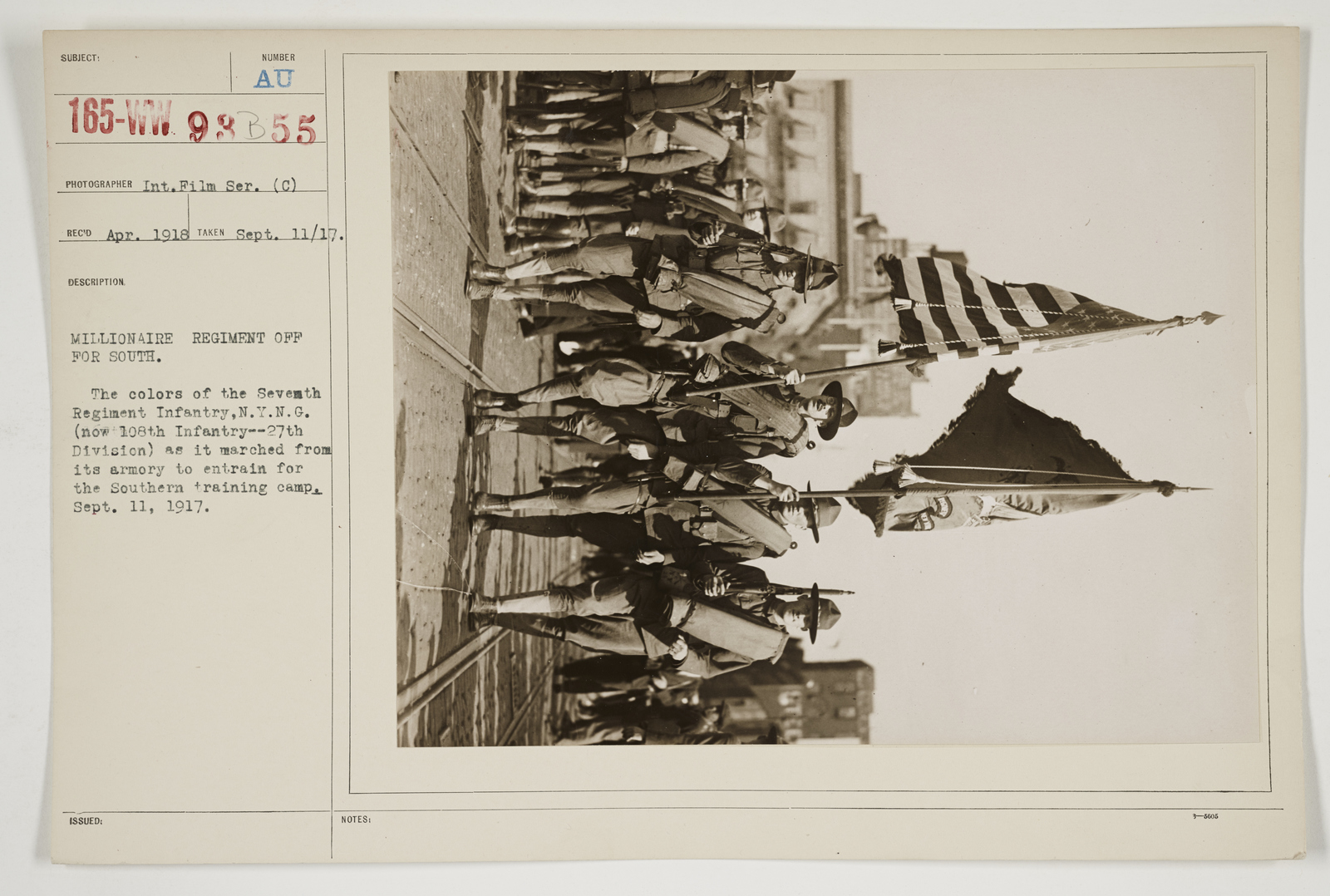 Ceremonies - Salutes and Parades - New York - Millionaire Regiment off for South
