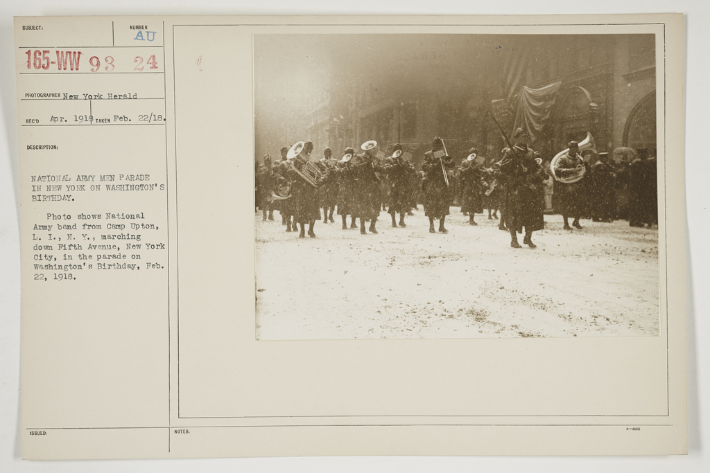 Ceremonies - Salutes and Parades - New York - National Army men parade in New York on Washington's Birthday