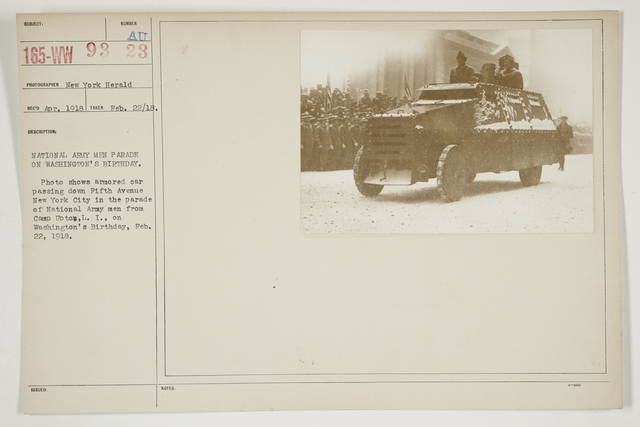 Ceremonies - Salutes and Parades - New York - National Army men parade on Washington's Birthday