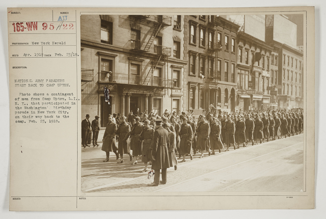 Ceremonies - Salutes and Parades - New York - National Army paraders start back to Camp Upton.  Photo shows a contingent of men from Camp Upton, Long Island, New York, that participated in the Washington's Birthday parade in New York City, on their way back to the camp.  February 23, 1918
