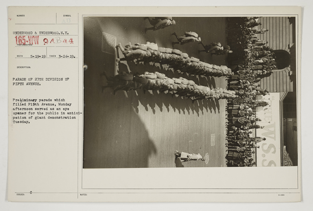 Ceremonies - Salutes and Parades - New York - Parade of 27th Division up Fifth Avenue.  Preliminary parade which filled Fifth Avenue, Monday afternoon served as an eye opener for the public in anticipation of giant demonstration Tuesday