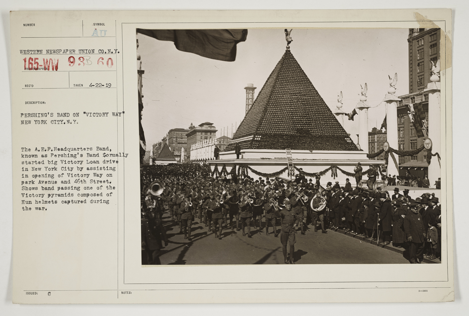 """Ceremonies - Salutes and Parades - New York - Pershing's band on """"Victory Way"""" New York City, New York"""
