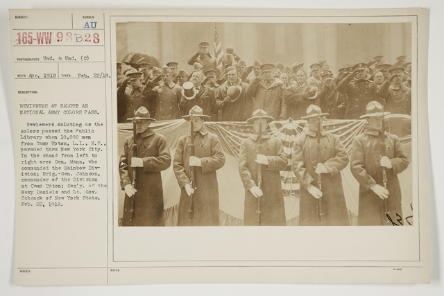 Ceremonies - Salutes and Parades - New York - Reviewers at salute as National Army Colors pass