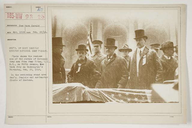 Ceremonies - Salutes and Parades - New York - Secretary of Navy Daniels reviews National Army Parade
