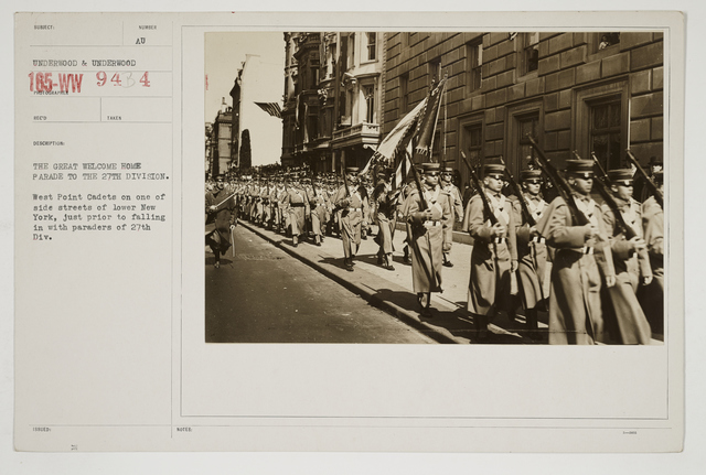 Ceremonies - Salutes and Parades - New York - The great welcome home parade to the 27th Division.  West Point Cadets on 1 of side streets of lower New York, just prior to falling in with paraders of 27th Division