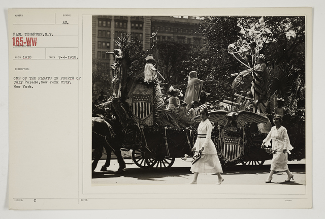 """Ceremonies - Salutes and Parades - New York - The """"Wake Up America"""" Parade in New York City.  Girls of Julia Richman High School marching.  April 19, 1917"""