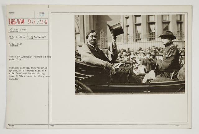 """Ceremonies - Salutes and Parades - New York - """"Wake Up America"""" Parade in New York City.  Abraham Lincoln impersonated by Benjamin Chapin with his aide Southard Brown riding down Fifth Avenue in the great parade"""