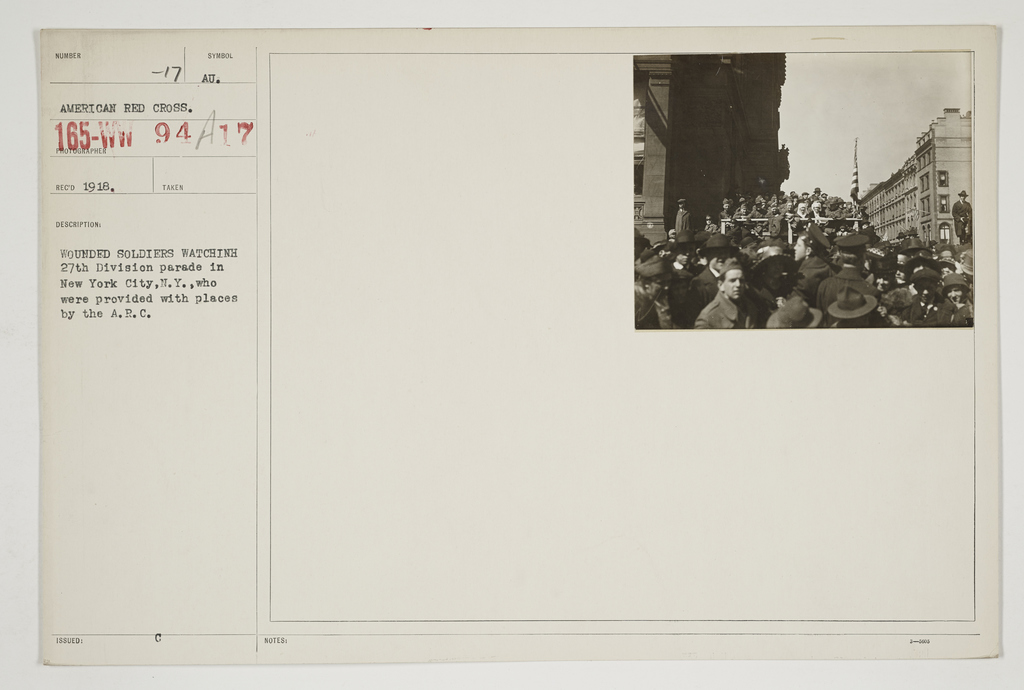 Ceremonies - Salutes and Parades - New York - Wounded soldiers watching 27th Division parade in New York City, New York, who were provided with places by the A.R.C