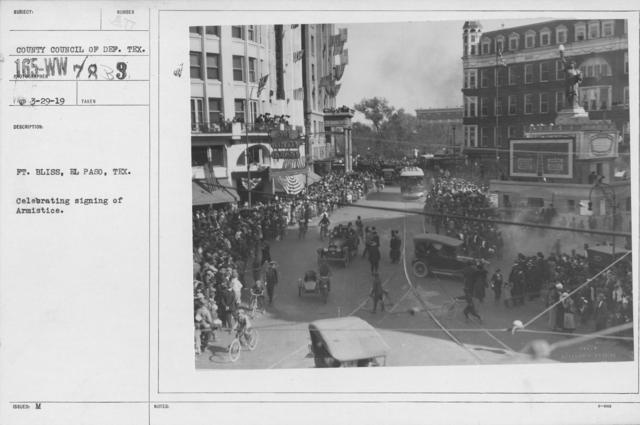 Ceremonies - Texas - Ft. Bliss, El Paso, Tex. Celebrating signing of Armistice
