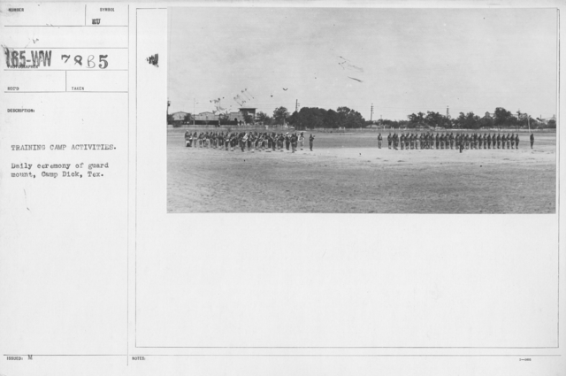 Ceremonies - Texas - Training camp activities. Daily ceremony of guard mount, Camp Dick, Tex