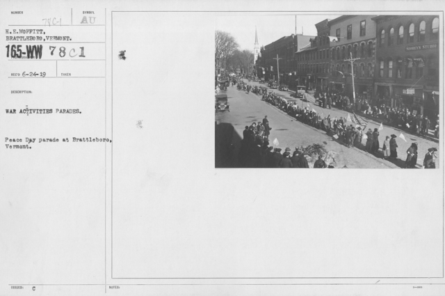 Ceremonies - Vermont - War activities parades. Peace Day parade at Brattleboro, Vermont