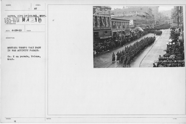 Ceremonies - War Activities - Montana Troops take part in war activity parade. Co. K on parade, Helena, Mont
