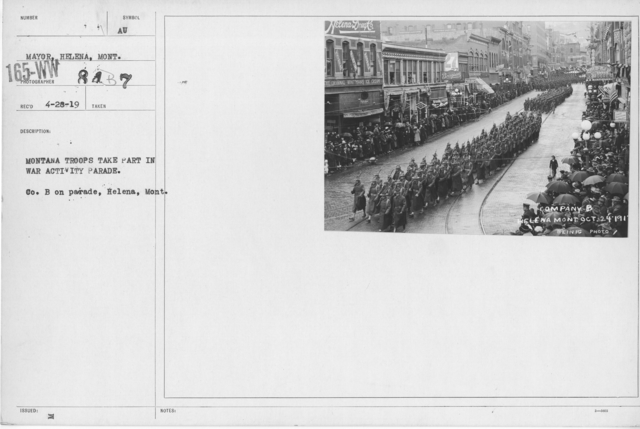 Ceremonies - War Activities - Montana Troops take part in war activity parade. Co. B on parade, Helena, Mont