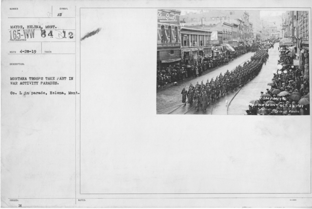 Ceremonies - War Activities - Montana Troops take part in war activity parades. Co. L in parade, Helena, Mont