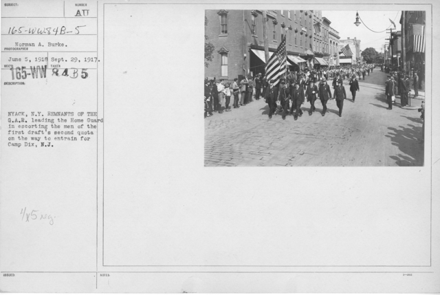 Ceremonies - War Activities - NYACK, N.Y. Remnants of the G.A.R. leading the Home Guard in escorting the men of the first draft's second quota on the way to entrain for Camp Dix, N.J