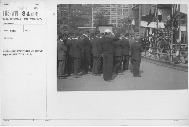 Ceremonies - War Activities - Patriotic exercises at Union Square, New York, N.Y