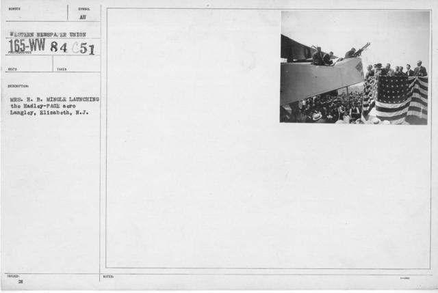 Ceremonies - War Savings Stamps - Mrs. H.B. Mingle launching the Hadley-Page aero Langley, Elizabeth, N.J