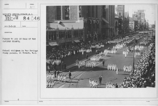 Ceremonies - War Savings Stamps - Parade to aid in sale of war savings stamps.  School children in War Savings Stamp parade. At Newark, N.J