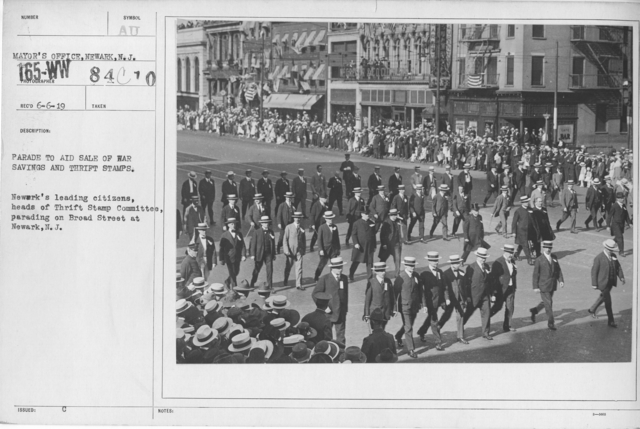 Ceremonies - War Savings Stamps - Parade to aid sale of war savings and thrift stamps. Newark's leading citizens, heads of Thrift Stamp Committee, parading on Broad Street at Newark, N.J