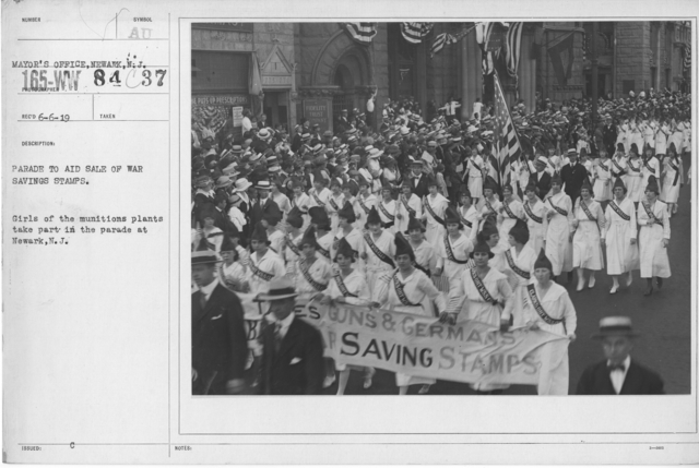 Ceremonies - War Savings Stamps - Parade to aid sale of war savings stamp. Girls of the munitions plants take part in the parade at Newark, N.J