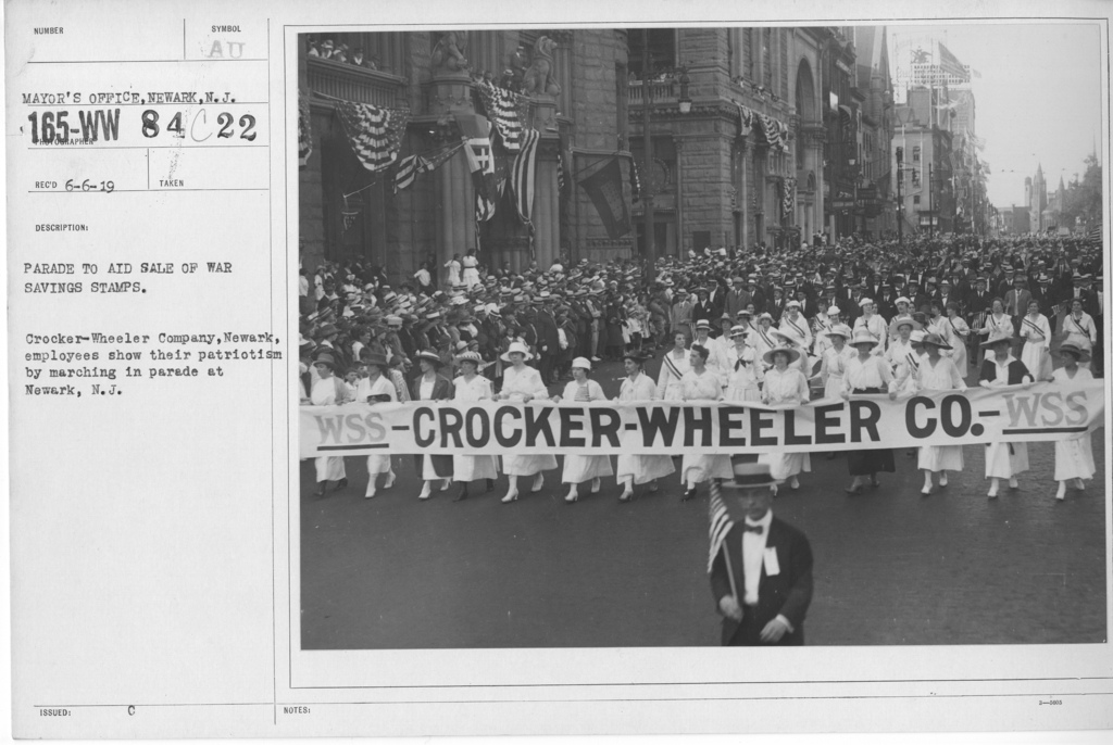 Ceremonies - War Savings Stamps - Parade to aid sale of war savings stamps. Crocker-Wheeler Company, Newark, employees show their patriotism by marching in parade at Newark, N.J