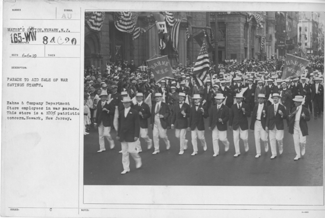 Ceremonies - War Savings Stamps - Parade to aid sale of war savings stamps. Hahne & Company Department Store employees in war parade. This store is 100% patriotic concern. Newark, New Jersey