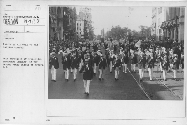 Ceremonies - War Savings Stamps - Parade to aid sale of war savings stamps. Male employees of Prudential Insurance Company in War Savings Stamp parade at Newark, N.J