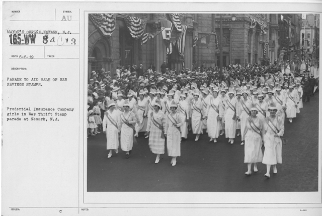 Ceremonies - War Savings Stamps - Parade to aid sale of war savings stamps. Prudential Insurance Company girls in War Thrift Stamp parade at Newark, N.J