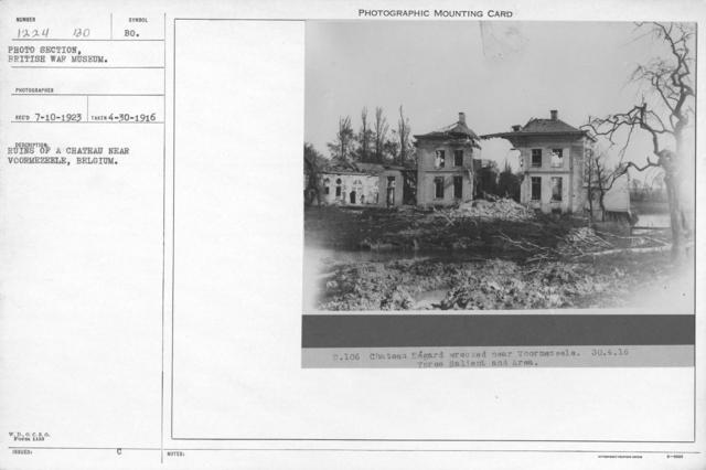 Chateau Ségard wrecked near Voormezeele, Belgium. 4-30-1916